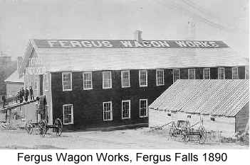 Black and white photograph of the Fergus Wagon Works, Fergus Falls, MN, 1890