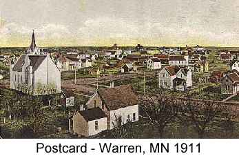 Color postcard painting of the town of Warren, MN in 1911