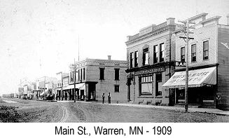 Black and white photo of Main St., Warren, MN, in 1909