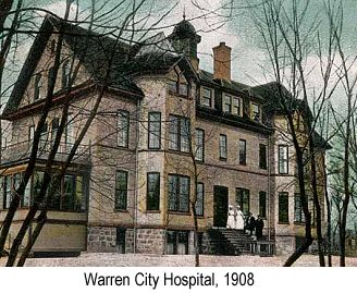 Color postcard photograph of the Warren City Hospital in 1908, with some nurses in white uniforms standing near the door
