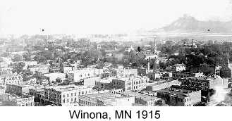 Black & white photo of Winona, MN, taken from a high vantage point in 1915